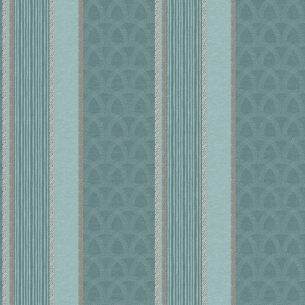 The Wallpaper Company 10 in. x 8 in. Blue Multi Pattern Stripe Wallpaper Sample-DISCONTINUED