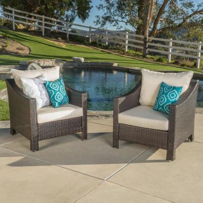 Antibes Multibrown Stationary Wicker Outdoor Lounge Chair with Beige Cushion (2-Pack))