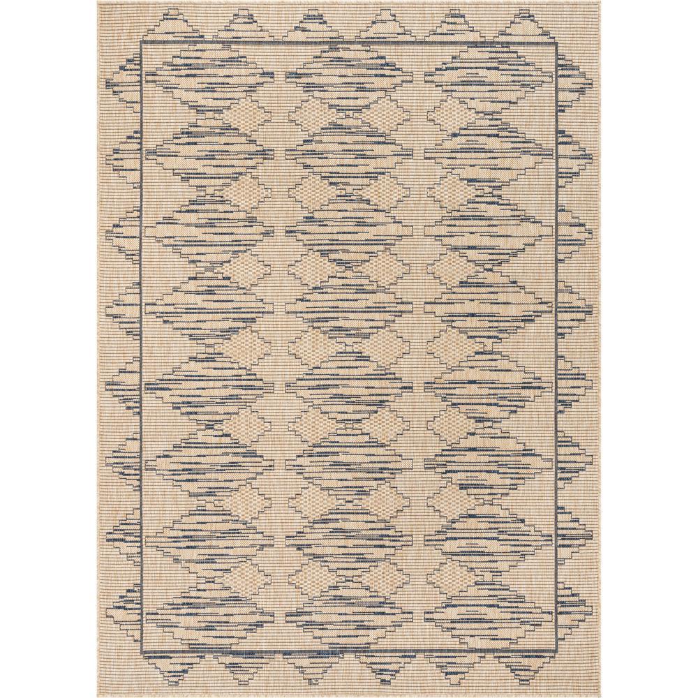 Medusa Vidar Blue Beige Trellis Diamond Pattern 7 ft. 10 in. x 9 ft. 10 in. Indoor/Outdoor Area Rug