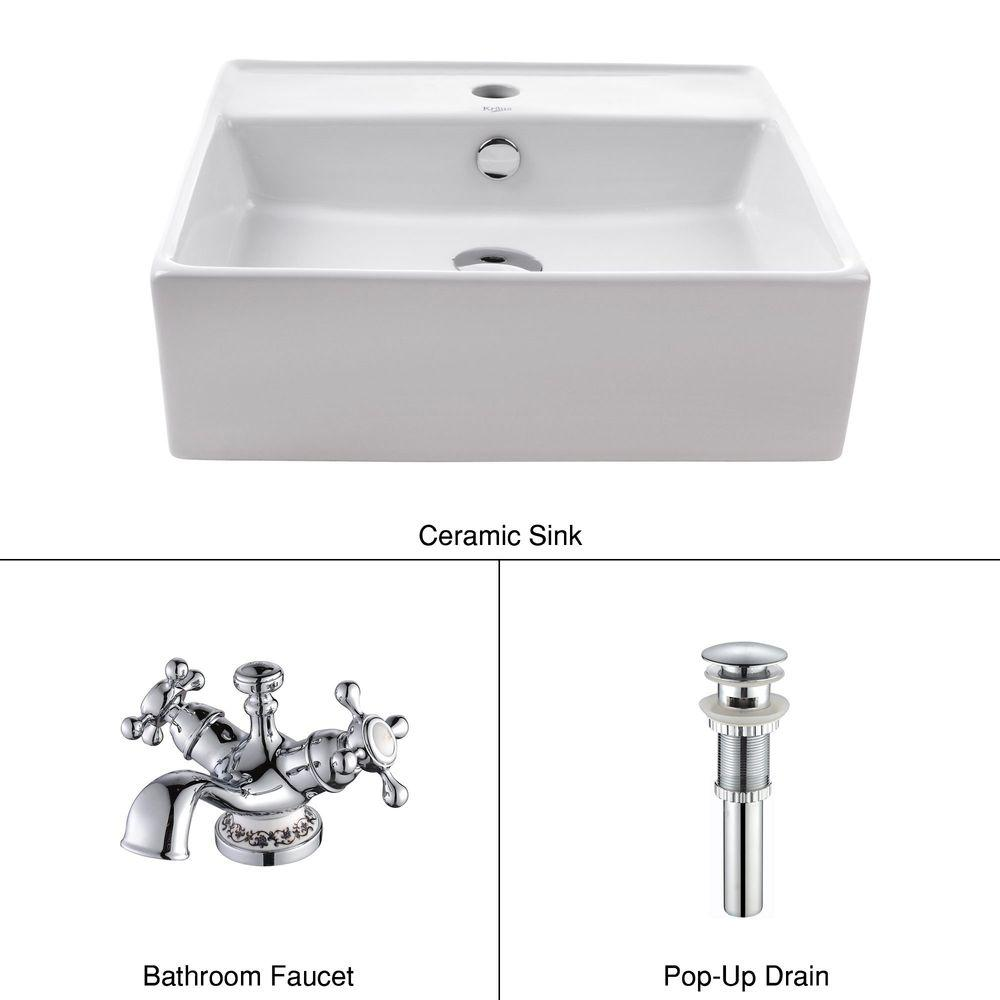 KRAUS Square Ceramic Sink in White with Apollo Basin Faucet in Chrome-DISCONTINUED