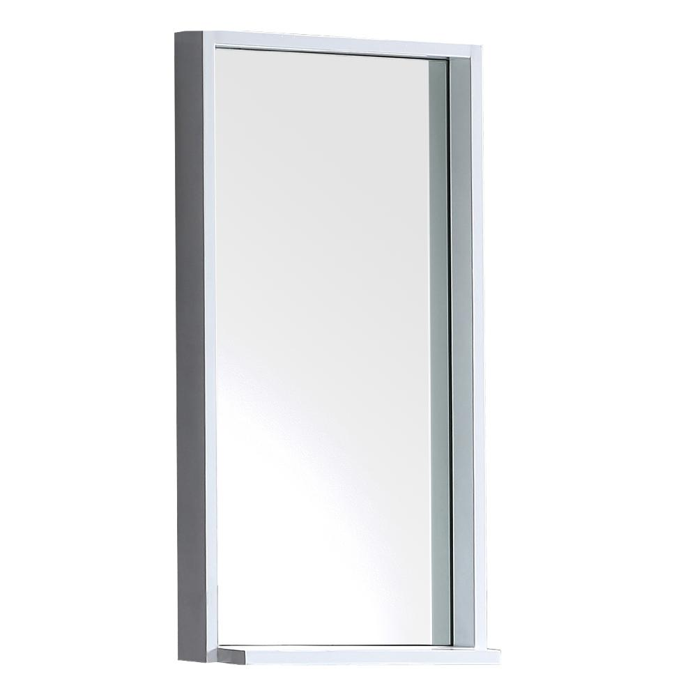 H Framed Wall Mirror With Shelf In White