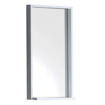 Allier 16 in. W x 31.50 in. H Framed Wall Mirror with Shelf in White