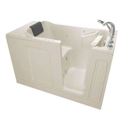 Acrylic Luxury 51 in. x 30 in. Right Hand Walk-In Whirlpool and Air Bathtub in Linen