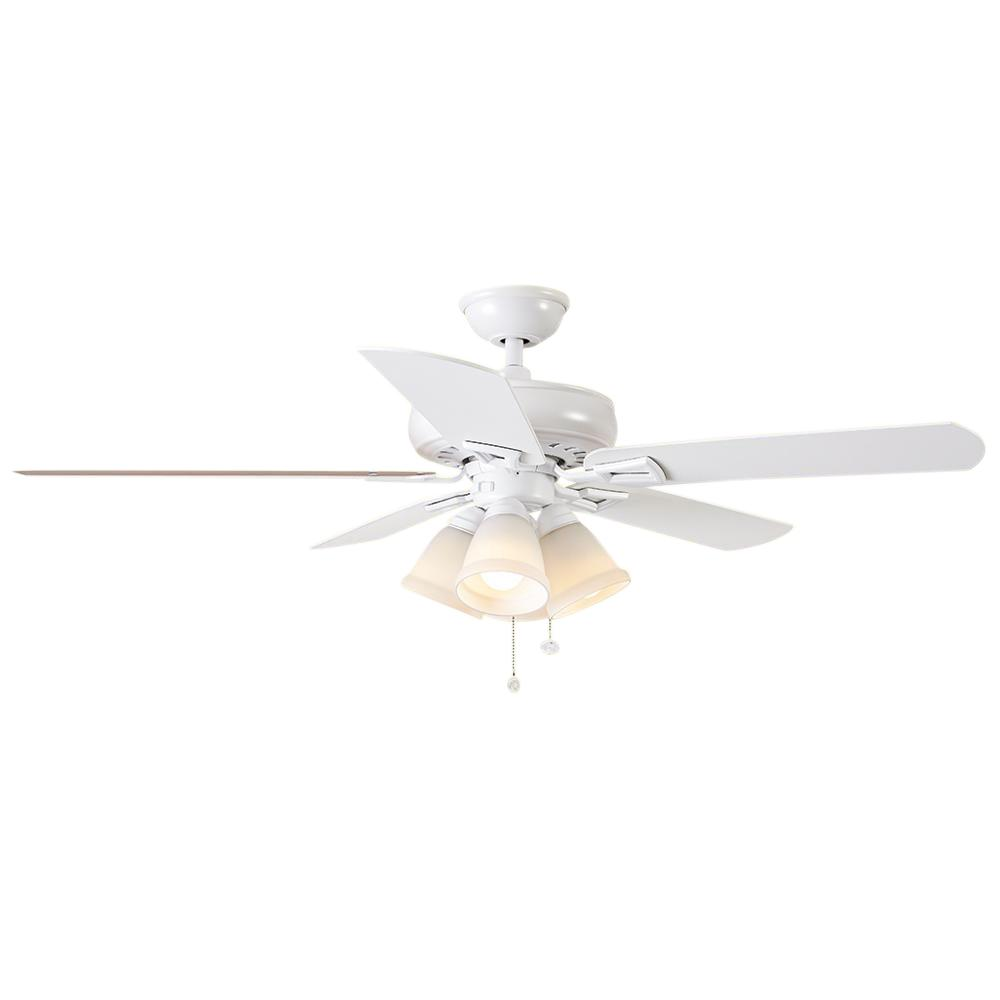 Ceiling Fan 42 High Quality With Light: Lyndhurst 52 In. LED Matte White Ceiling Fan With Light