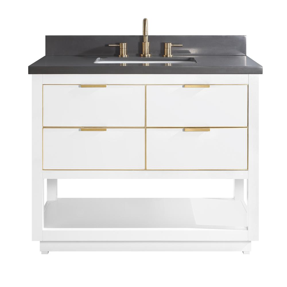 Avanity Allie 43 in. W x 22 in. D Bath Vanity in White with Gold Trim with Quartz Vanity Top in Gray with White Basin