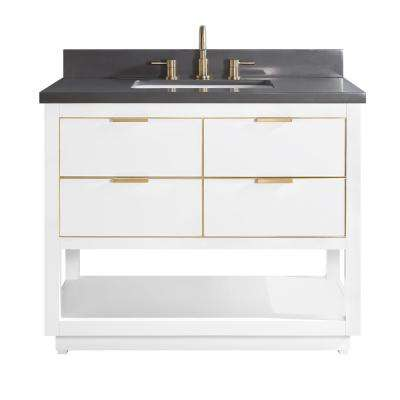 Allie 43 in. W x 22 in. D Bath Vanity in White with Gold Trim with Quartz Vanity Top in Gray with White Basin