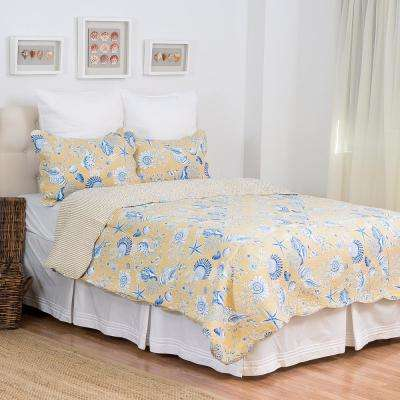 Yellow Taupe Shells King Quilt Set