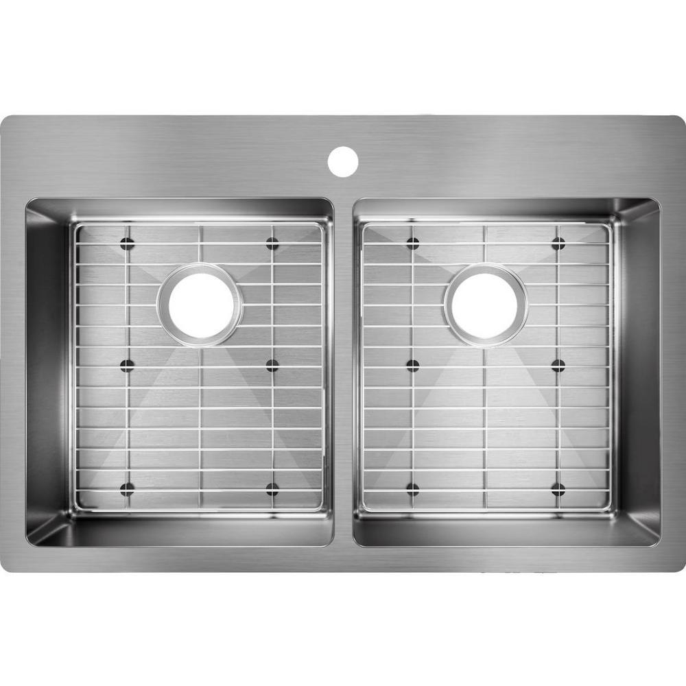 Crosstown Stainless Steel 33 in. Double Bowl Drop-in Kitchen Sink Kit
