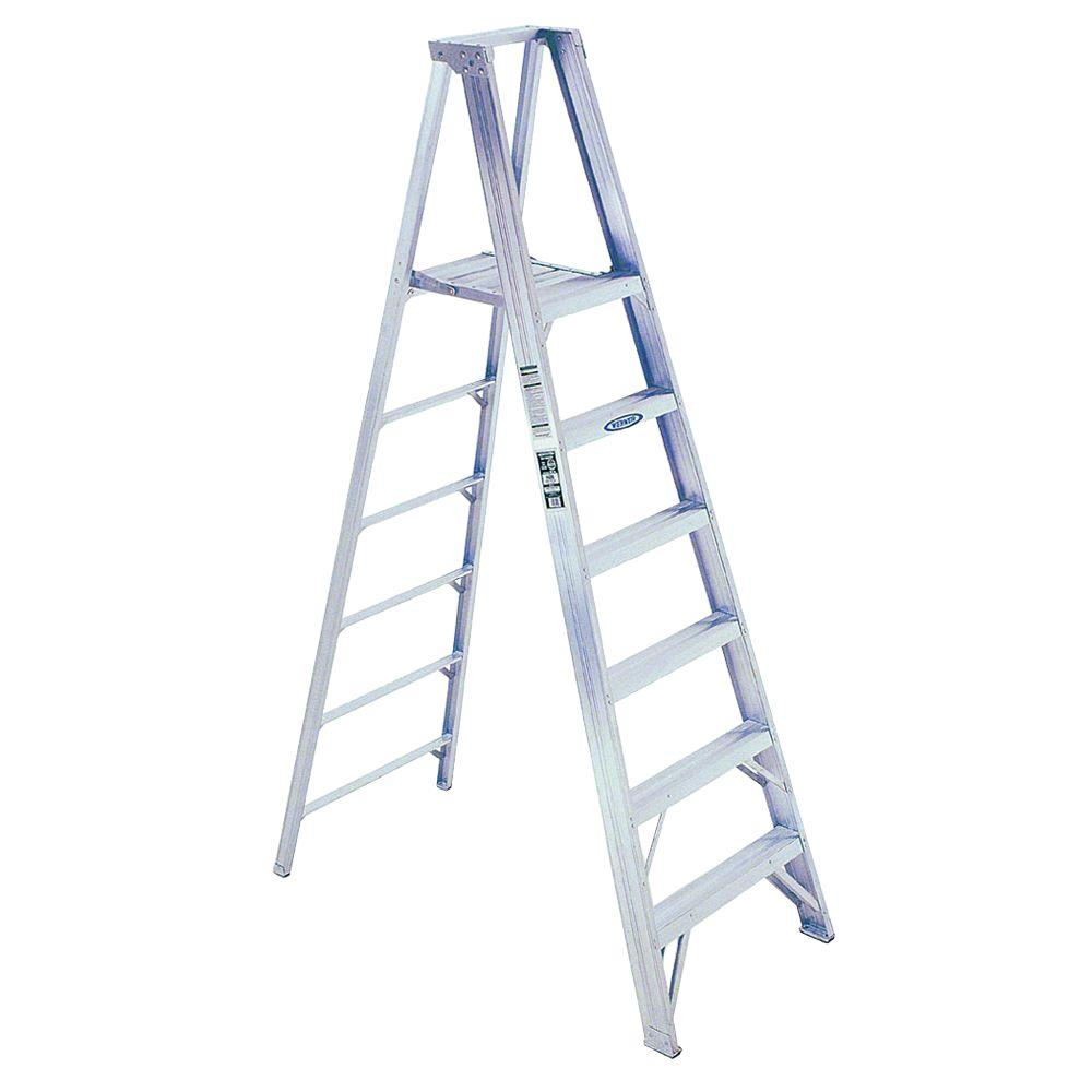 Werner 16 ft. Reach Aluminum Platform Step Ladder with 300 lb. Load Capacity Type IA Duty Rating