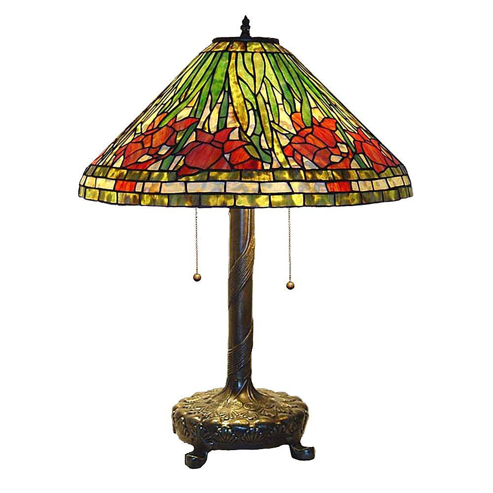 Tiffany Daffodil 25 in. Bronze Table Lamp