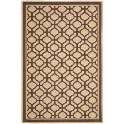 Martha Stewart Tangier Cream/Chocolate 6 ft. 7 in. x 9 ft. 6 in. Area Rug