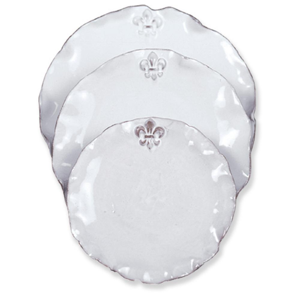Fleur De Lis White Ceramic Napkin Ring Set of 4