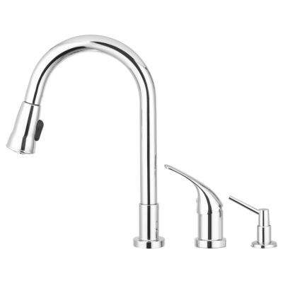 Grandview Single-Handle Pull-Down Sprayer Kitchen Faucet with Side Single Lever Controls and Soap Dispenser in Chrome