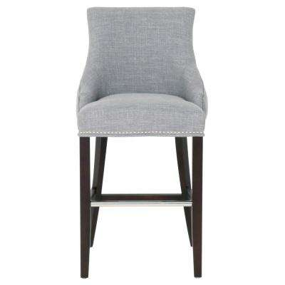 Avenue 30 in. Smoke Fabric, Espresso Bar Stool