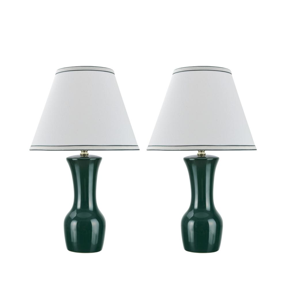 Aspen Creative Corporation 20 in. Green Ceramic Table Lamp with Hardback Empire Shaped Lamp Shade in Off-White (2-Pack)