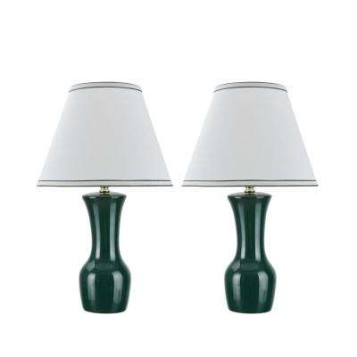 20 in. Green Ceramic Table Lamp with Hardback Empire Shaped Lamp Shade in Off-White (2-Pack)