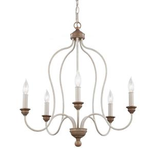 Feiss Hartsville 5-Light Chalk Washed/Beachwood Single Tier Chandelier by Feiss