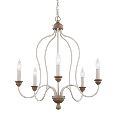 Hartsville 23.5 in. W 5-Light Chalk Washed White/Light Brown Beachwood Country Coastal Farmhouse Chandelier