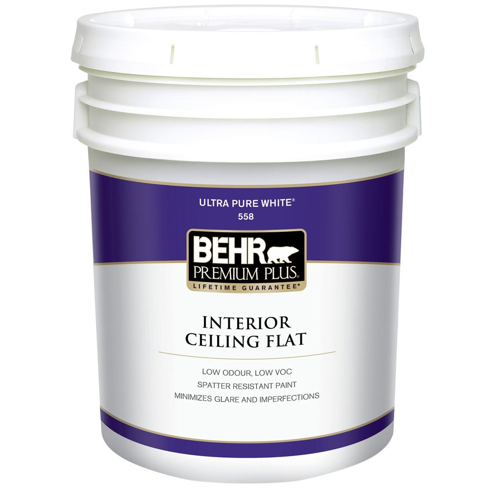 behr premium plus 5 gal white flat ceiling interior paint 55805 the home depot