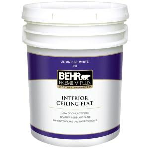Lovely BEHR Premium Plus 5 Gal. White Flat Ceiling Interior Paint 55805   The Home  Depot