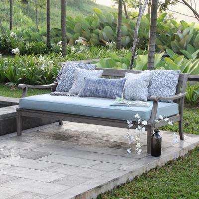 Wales Wood Outdoor Sofa Daybed with Teal Cushion