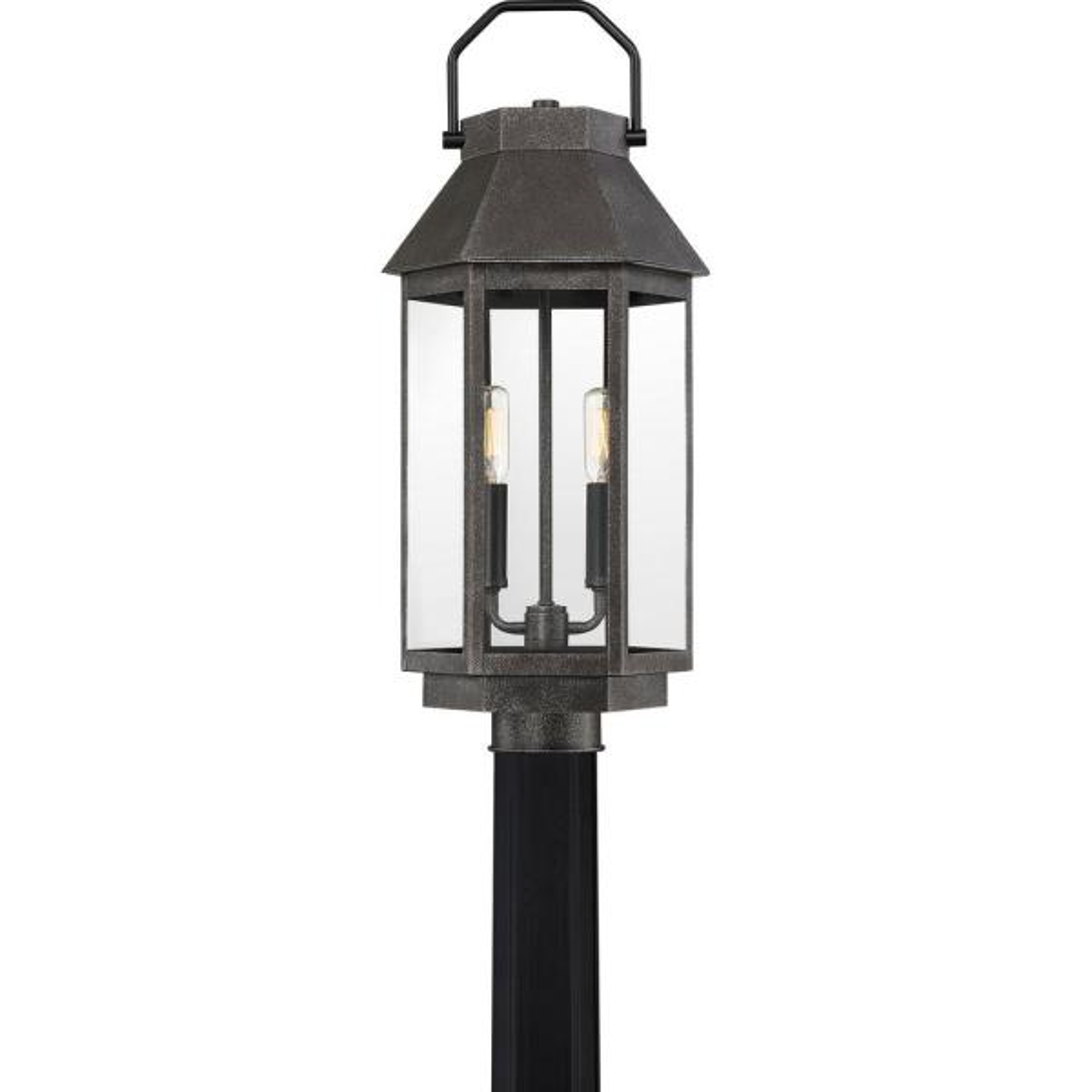 Campbell 1-Light Speckled Black Outdoor Post Lantern