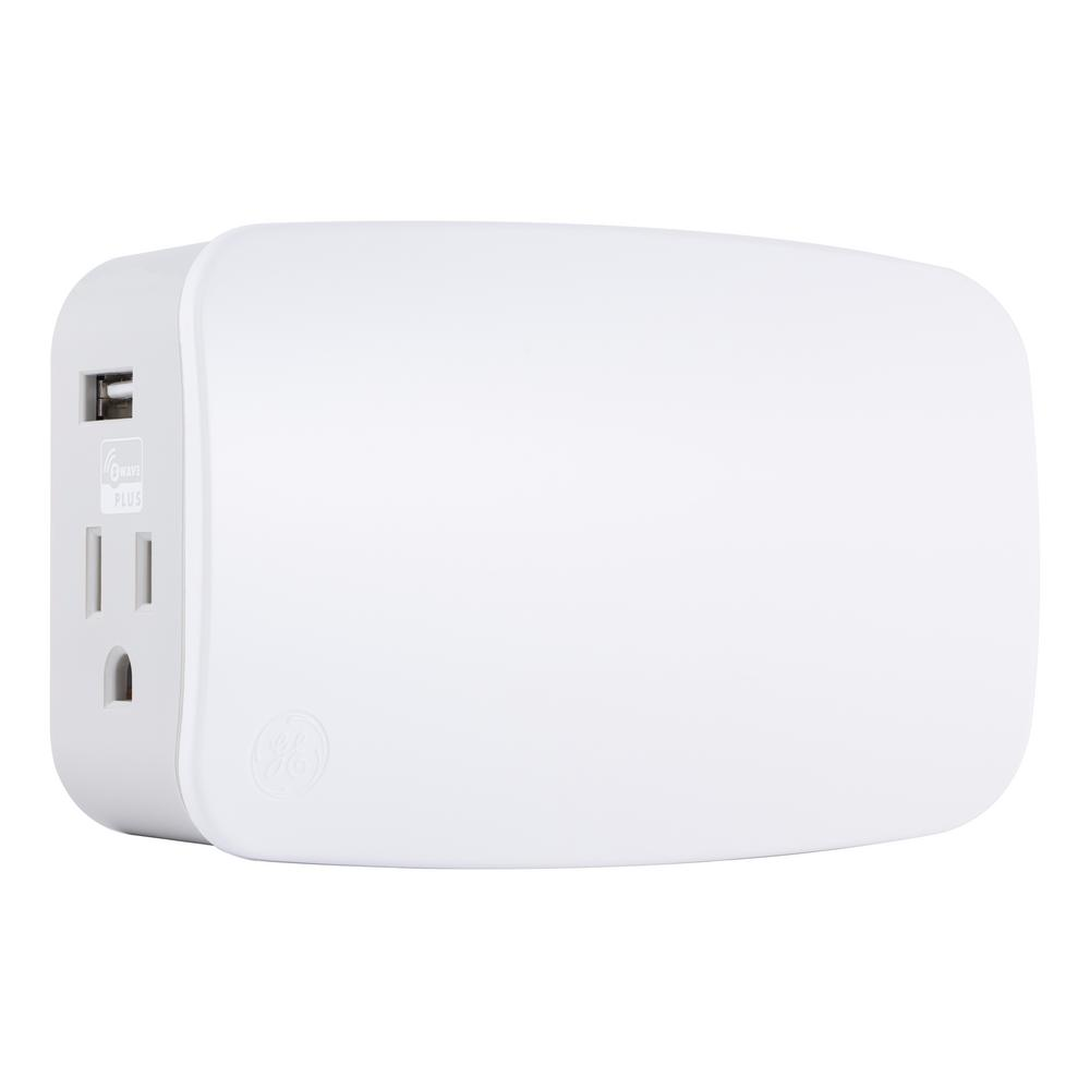 Ge Z Wave Plus Plug In Smart Switch Dual Outlets With Usb