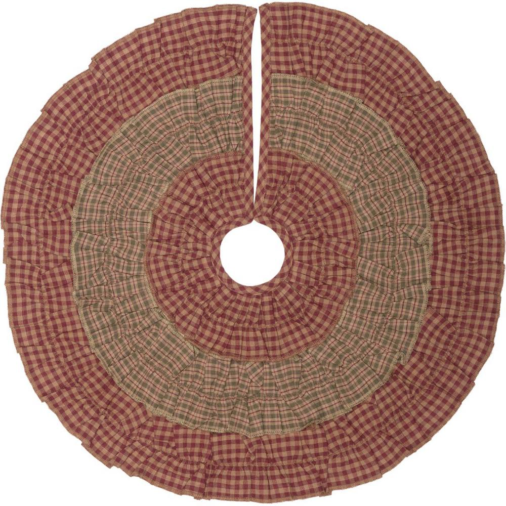 sequoia burgundy red rustic christmas decor mini tree skirt