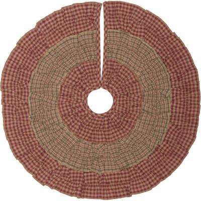 21 in. Sequoia Burgundy Red Rustic Christmas Decor Mini Tree Skirt