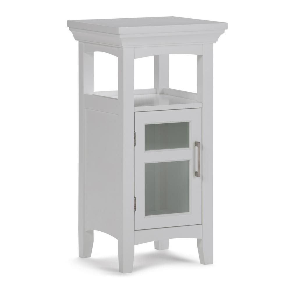 Simpli Home Avington Ready to Assemble 15 x 30 x 14 in. Bath Floor Storage Cabinet with Tempered Glass Door in White