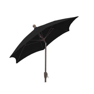 7.5 ft. Patio Umbrella with 2-Piece Chanpagne Bronze Pole Tilted and Black Canopy