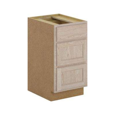 Stratford Assembled 18x34.5x24 in. 3-Drawer Base Cabinet with soft close in Unfinished Oak