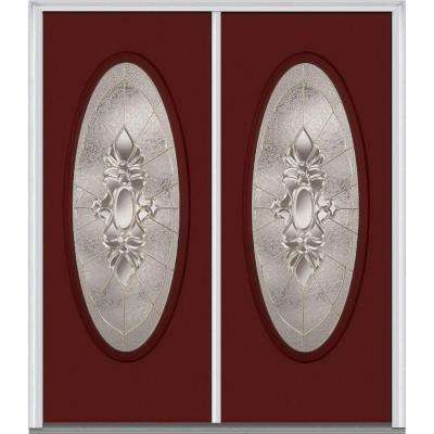 60 in. x 80 in. Heirlooms Right-Hand Inswing Oval Lite Decorative Painted Fiberglass Smooth Prehung Front Door