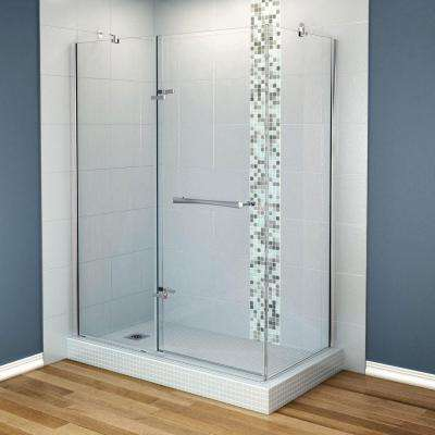 Reveal 33-7/8 in. x 60 in. x 71-1/2 Frameless Corner Pivot Shower Enclosure in Chrome