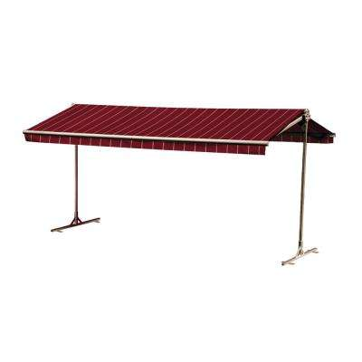 16 ft. Oasis Freestanding Motorized Retractable Awning (120 in. Projection) with Remote in Merlot