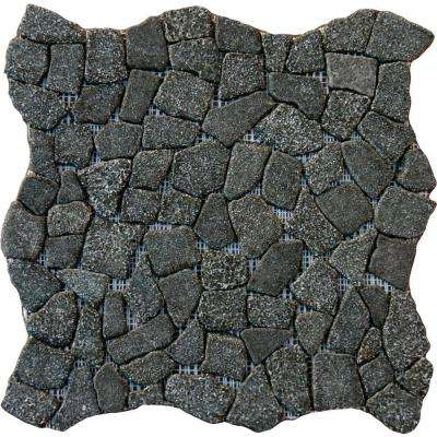 Charcoal Flat Pebbles 16 in. x 16 in. x 13 mm Tumbled Granite Mosaic Floor and Wall Tile (12.46 sq. ft. / case)