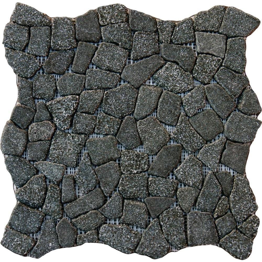 MSI Charcoal Flat Pebbles 16 in. x 16 in. x 10mm Tumbled Granite Mesh-Mounted Mosaic Floor and Wall Tile