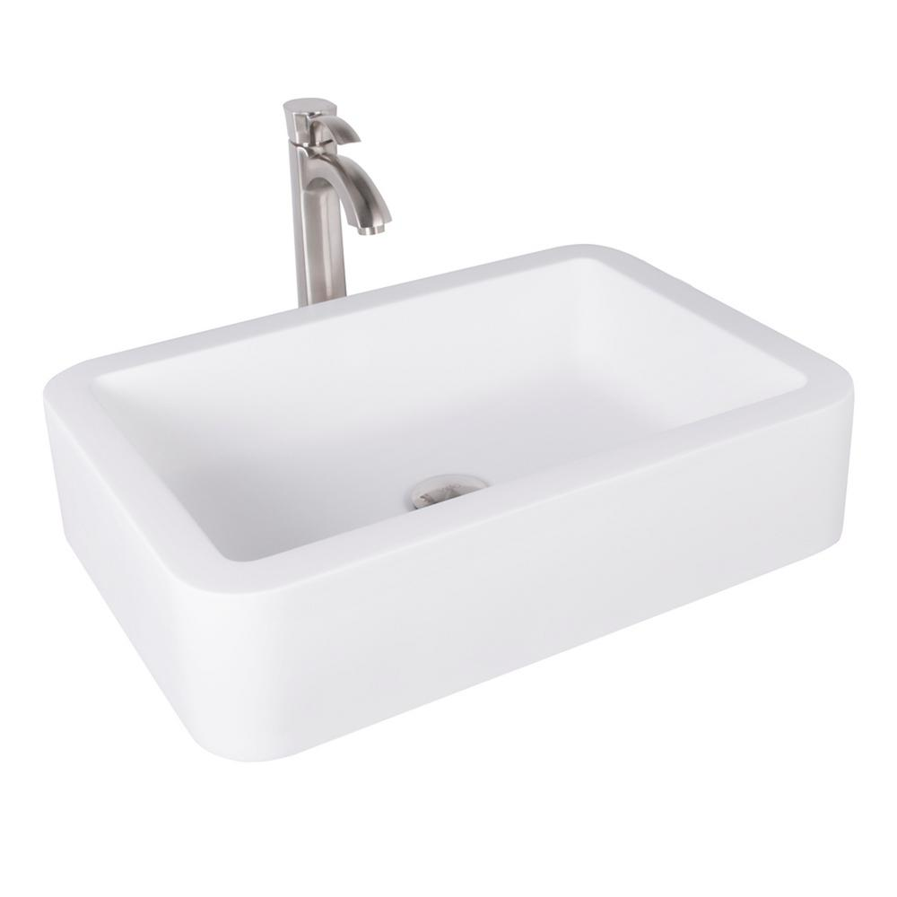 VIGO Navagio Matte Stone Vessel Sink in White with Otis Bathroom Vessel  Faucet in Brushed Nickel VGT1008   The Home Depot. VIGO Navagio Matte Stone Vessel Sink in White with Otis Bathroom
