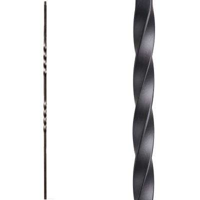 Twist and Basket 44 in. x 0.5 in. Satin Black Double Twist Hollow Wrought Iron Baluster