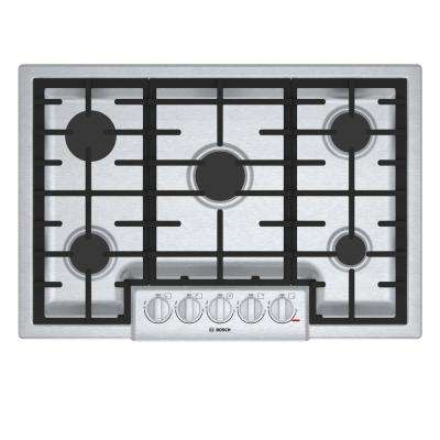 800 Series 30 in. Gas Cooktop in Stainless Steel with 5 Burners including 19,000 BTU Burner