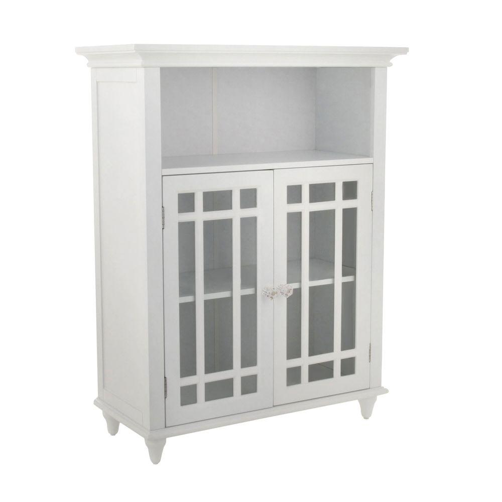 Astounding Elegant Home Fashions Albion 26 1 2 In W X 34 In H X 12 In D 2 Door Bathroom Linen Storage Floor Cabinet In White Interior Design Ideas Clesiryabchikinfo