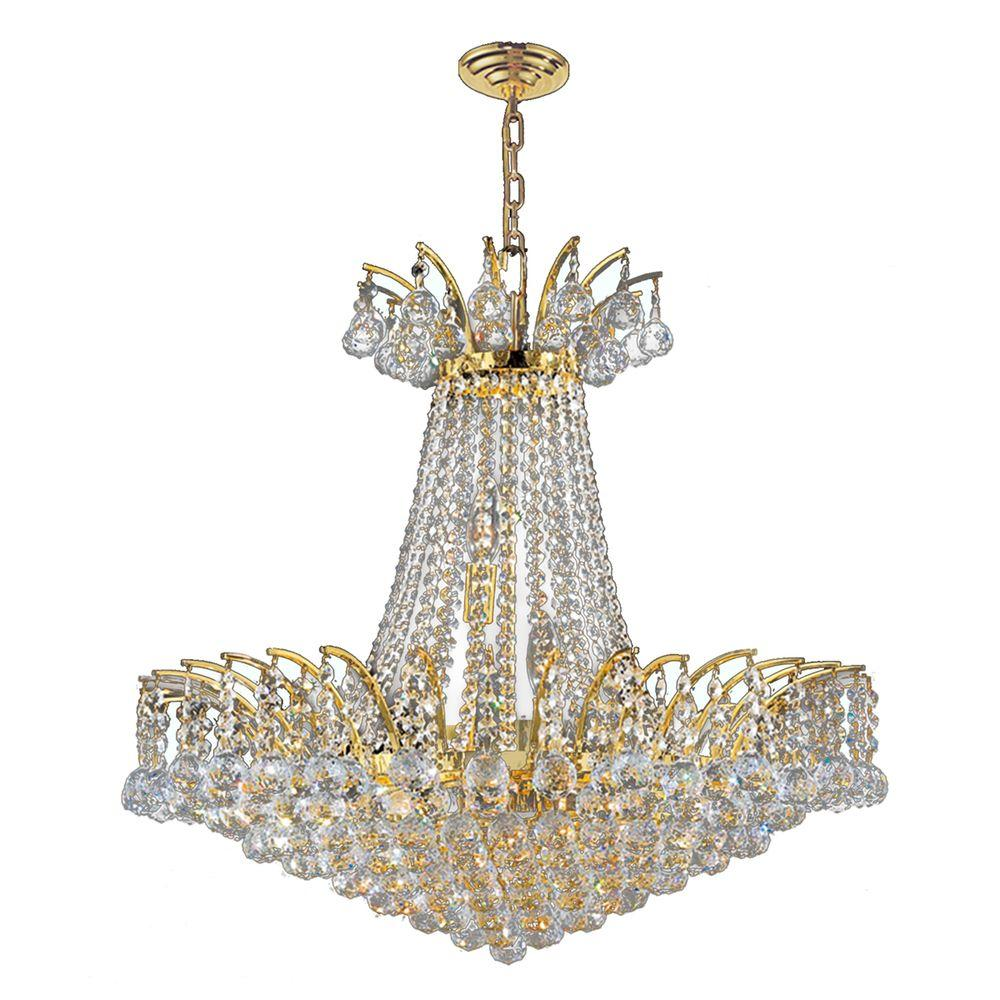 Gold chandeliers lighting the home depot empire collection 11 light polished gold and clear crystal chandelier arubaitofo Image collections
