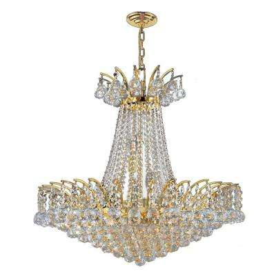 Empire Collection 11-Light Polished Gold and Clear Crystal Chandelier