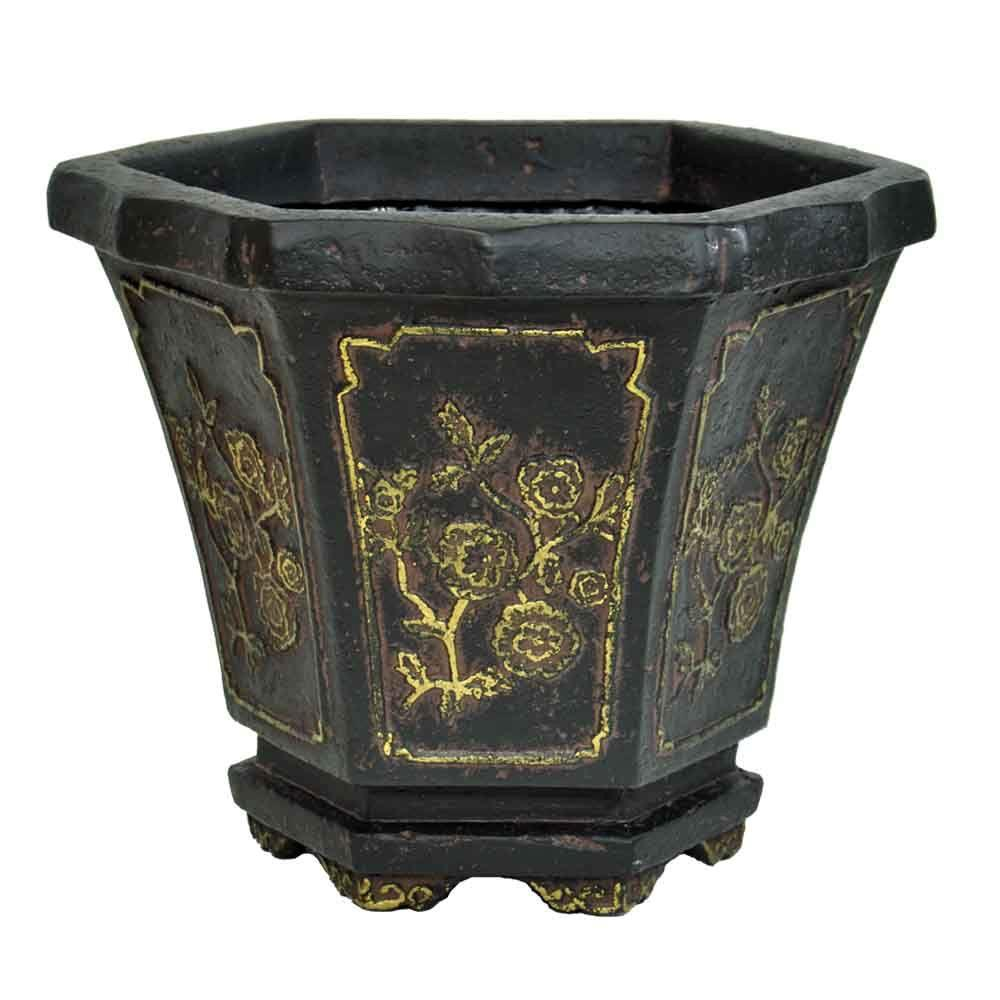 MPG 15 in. x 14 in. Hexagonal Aged Charcoal Cast Stone Oriental Planter with Gold Tipping