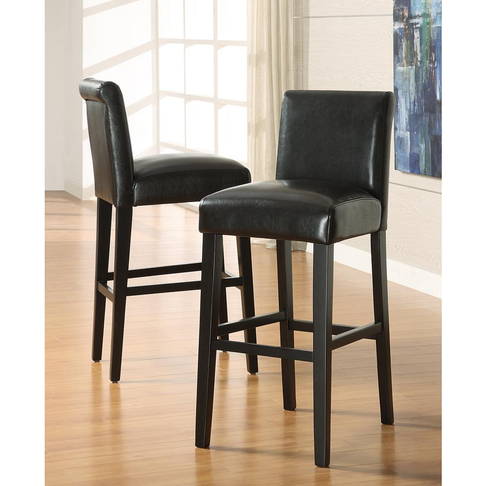 Home Decorators Collection 29 in. Black Cushioned Bar Stool (Set of 2)