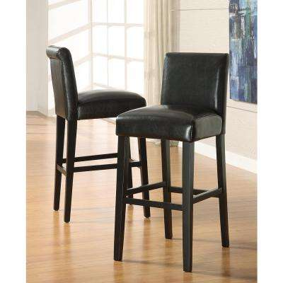 29 in. Black Cushioned Bar Stool (Set of 2)
