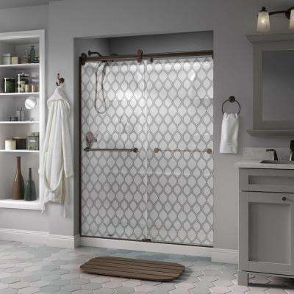 Mandara 60 in. x 71 in. Semi-Frameless Contemporary Sliding Shower Door in Bronze with Ojo Glass