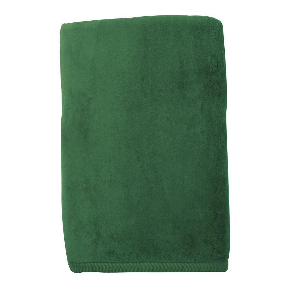 Cotton Fleece Laurel Green Woven Throw