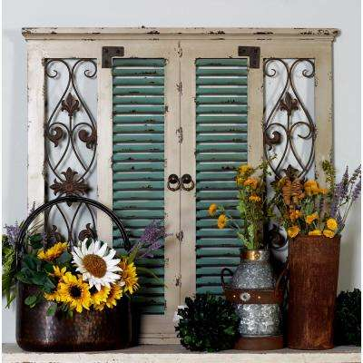 "40 in. x 40 in. ""Louvered and Scrolled Door Panel"" Framed Wooden Wall Art"