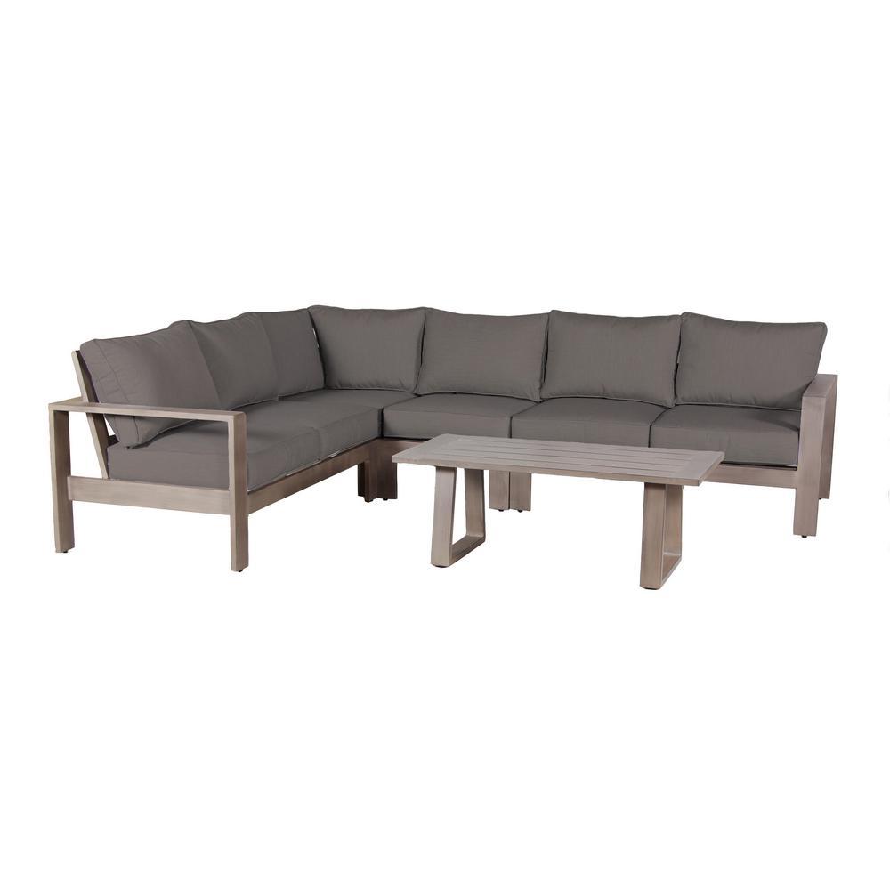 Aruba 5-Piece Aluminum Patio Sectional Seating Set with Sunbrella Spectrum Grey Cushions